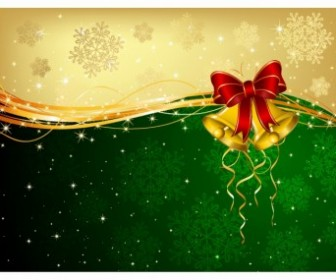 Vector Christmas Background With Bells And Decorative Bow Vector Art