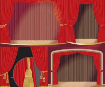 Vector Stage Curtain Vector Art