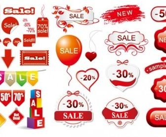 Vector 3 Sets Of Discount Sales Decorative Icon Vector Graphics