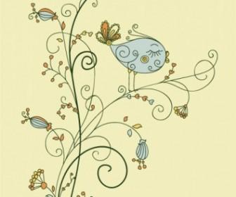 Vector Leaf Bird On Floral Vector Art