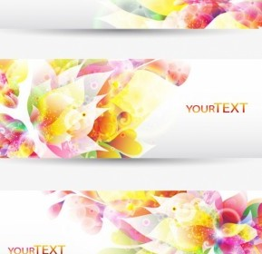 Vector Fantasy Flowers Background Template 1 Vector Banner