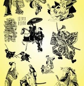 Vector Samurai Geisha Illustrations Vector Art