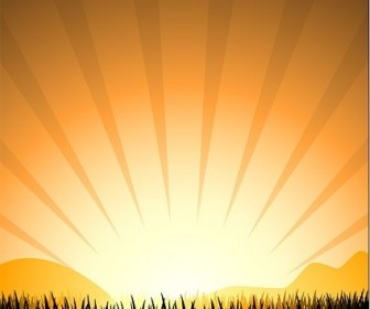 Vector Sunset Radiation Light Elements Such As Grass Silhouette Silhouettes Vector Graphics