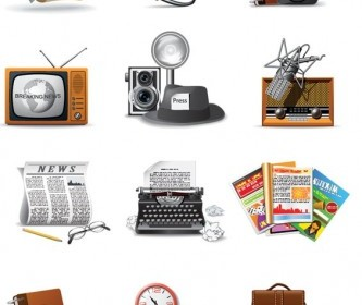 Vector 1960 Reporters Theme Icon Vector Graphics