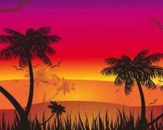 Vector Tropical Sunset Vector Art