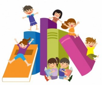 Vector Kids Jumping On Books Vector Art