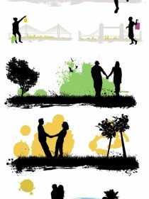 Vector Characters Buildings Scenes Silhouette 01 Silhouettes Vector Graphics