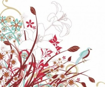 Vector Abstract Floral Flowers Graphic Flower Vector Art