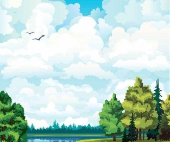 Vector Cartoon Landscapes Background Vector Art