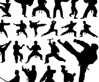 Vector Martial Arts Silhouettes Vector Graphics