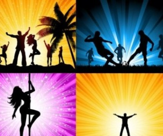 Vector Beautiful Silhouette People Vector Art