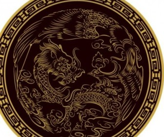 Vector Classical Dragon Round Vector Art
