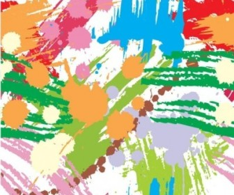 Vector Colourful Paint Blots Seamless Background Vector Art