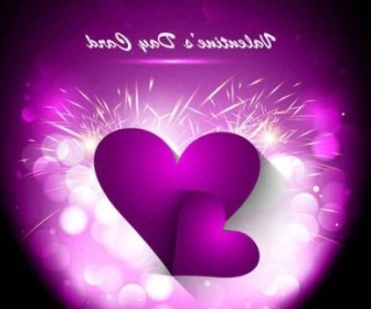 Vector Purple Valentines Day Greeting Card Background Vector Art