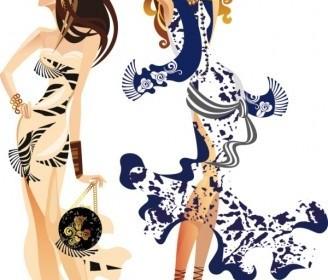 Vector Female Fashion Illustrator 04 Vector Art