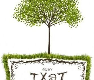 Vector Green Trees Text Box Vector Art