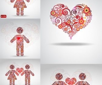 Vector Circle Of Love Composition Pattern Vector Art