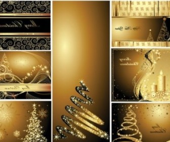 Vector Gold Postcards Christmas Vector Graphics