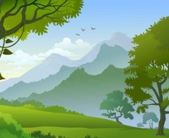 Vector Forest Landscape Trees Background Vector Art