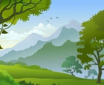 Vector Forest Landscape Trees Background Vector Art