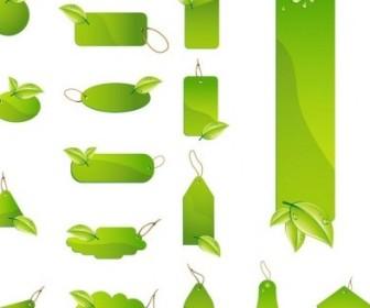 Vector Green Leaf Tag Labels Set Vector Art