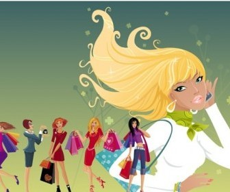 Vector Women Fashion Shopping People Vector Art