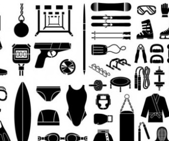 Vector Various Of Silhouette Sports Equipment 51 Elements Sport Vector Graphics