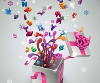Vector Stylish New Year Gift Background Vector Art
