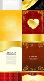 Vector Gold Valentine Day Greeting Card Template Heart Vector Art