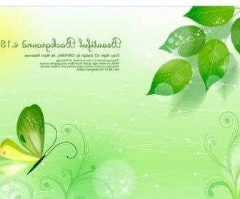 Vector Leaves And Butterflies Fantasy Background Vector Art