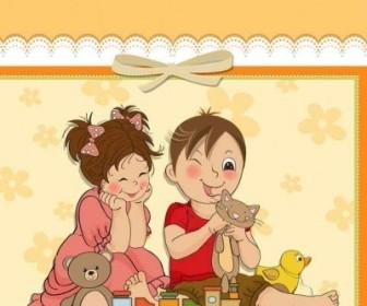 Vector Cute Cartoon Style Children's Card Design Vector02 Background Vector Art