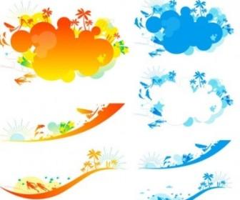 Vector Colorful Beach Vector Art