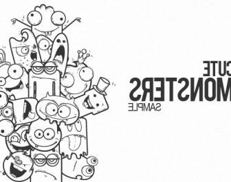 Vector Cute Monsters Sample Vector Art