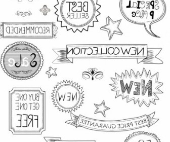 Vector Banners Labels And Frames Sketched Vector Art