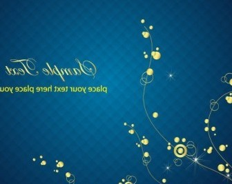 Vector Blue Background With Golden Floral Graphic Abstract Vector Graphics