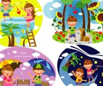 Vector Summer Of Children 3 Vector Clip Art