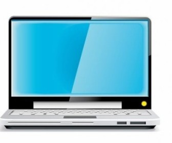 Vector Laptop Blue Screen Vector Art