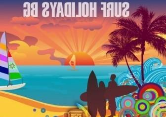 Vector Surf Holidays Background Vector Art