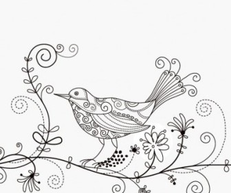 Vector Bird Floral Illustration Background Vector Art