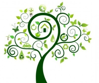 Vector Green Tree With Ecology Icons Icon Vector Graphics