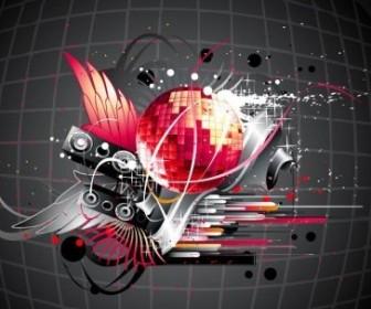 Vector Disco Music Illustration Background Vector Art