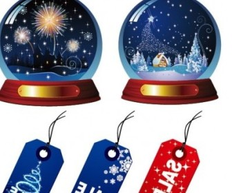 Vector Crystal Ball And Sales Tag Christmas Vector Graphics