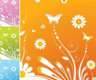 Vector Spring Flowers Butterfly Flower Vector Art