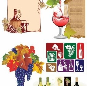 Vector Wine And Grapes Vector Art