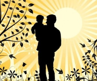 Vector Happy Family Father And Son Element Vector Art