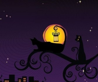 Vector Black Silhouette Of Cat At Night Illustration Silhouettes Vector Graphics