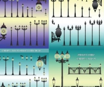 Vector Europeanstyle Street Lamps Chandelier Lamp Vector Art