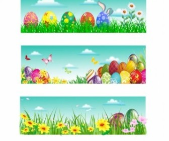 Vector Easter Banner Vector Art