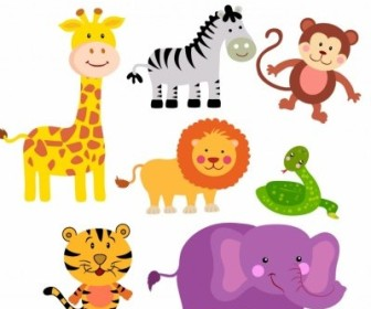Vector Safari Animals Cartoon Vector Art