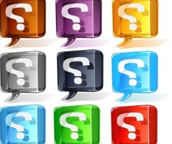 Vector Colorful Question Mark Set Icon Vector Graphics